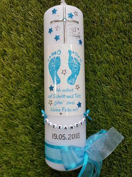 Taufkerze TK095-1 Große Füsschen Türkis-Hellblau