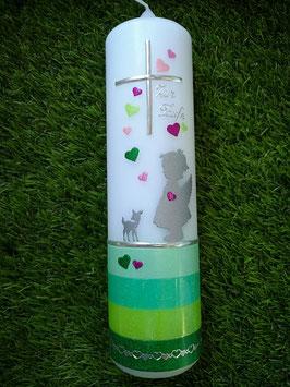 Taufkerze Schutzengel mit Untergrund / Bambi & Herzen TK152-a-U / Zartmint-Mint-Apfelgrün-Grasgrün Holoflitter Holoflitter