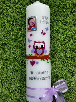 Trauerkerze Eule TRK180 mit Foto in Violett-Flieder UNI