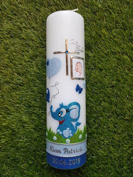 Taufkerze Elefant TK210-5 mit Foto in Türkis-Hellblau Holoflitter