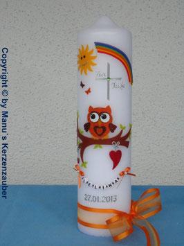 Taufkerze EULE mit Regenbogen & Kette TK181 Orange-Braun Flitter