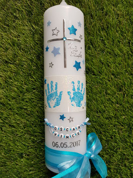 Taufkerze TK095-6 Große Hände Türkis-Hellblau Holoflitter