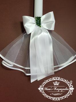 Kerzenröckchen Tüll mit Satinschleife KR102 Weiß
