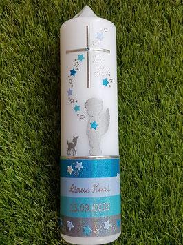 Taufkerze Schutzengel mit Untergrund / Bambi & Sterne TK152-a-U / Türkis-Hellblau-Pastellblau-Grau Holoflitter