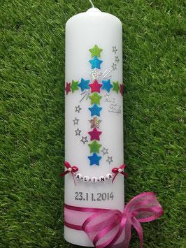 Taufkerze TK202-1 Kreuz Türkis-Apfelgrün-Pink-Silber Flitter & Buchstabenkette