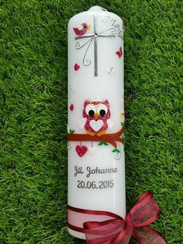 Taufkerze EULE das Original mit Buchstaben-Kette TK180 in Bordeaux-Creme Glitzer mit Krone