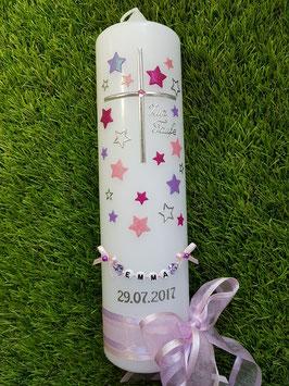 Taufkerze TK126 Kreuz mit Sterne in Rosa-Flieder-Pink Holoflitter