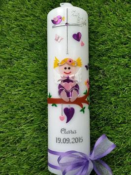 Taufkerze SK155 SCHUTZENGEL Brombeerlila-Rosa Flitter mit Silberschrift