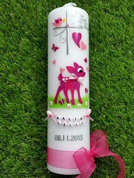 Taufkerze Bambi TK188 Pink Holoflitter mit Buchstabenkette©