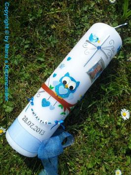 Taufkerze Junge Foto EULE das Original mit Buchstaben-Kette TK181  in Türkis-Hellblau Flitter