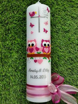 Taufkerze Eulen für Zwillinge 2in1 TK180 Pink-Rosa Flitter