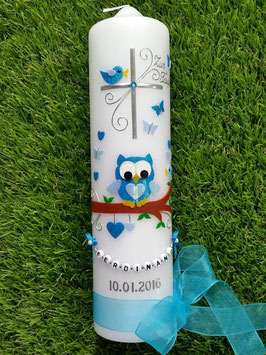 Taufkerze EULE das Original mit Buchstabenkette TK181 in Türkis-Hellblau Flitter