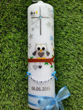 Taufkerze EULE das Original mit Sterne & Buchstaben-Kette TK181 in  Silber-Anthrazit-Hellblau Holoflitter