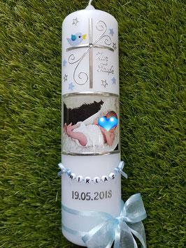 Taufkerze Kreuz & Foto TK100 Hellblau Holoflitter / Sterne / Schleife Zarthellblau