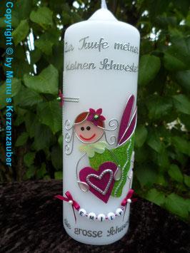 Geschwisterkerze SK116 Schutzengel Mädchen Apfelgrün-Pink Flitter