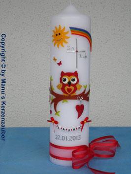 Taufkerze EULE mit Regenbogen & Kette TK181 Rot-Gelb Flitter