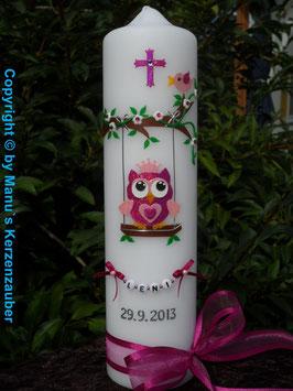 Taufkerze EULE auf Schaukel TK181-05 Pink-Rosa Flitter