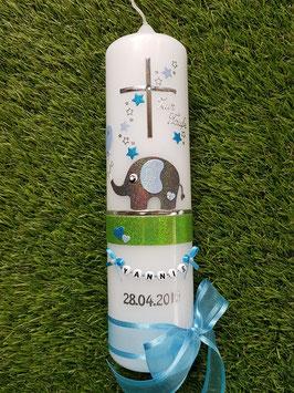 Taufkerze Elefant TK210-4  Anthrazit-Hellblau-Türkis Holoflitter mit Sterne & Luftballon / 1 Band