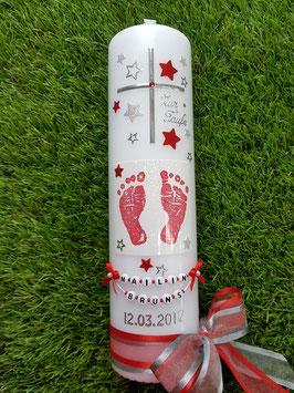Taufkerze TK095 Große Füsschen Rot-Silber Holoflitter