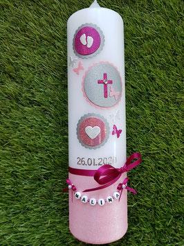 Taufkerze Symbole TK306-U in Rosa-Altrosa-Pink-Silber Holoflitter / Rosa Untergrund