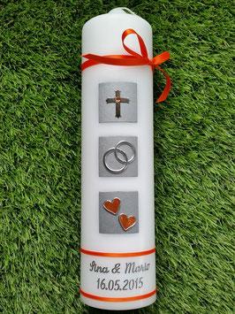 Sehr edle Hochzeitskerze HK210-5 Orange Flitter