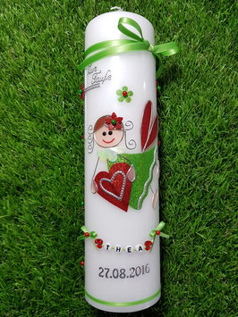 Taufkerze SK116 Schutzengel Mädchen Apfelgrün-Rot Holoflitter mit Blüten