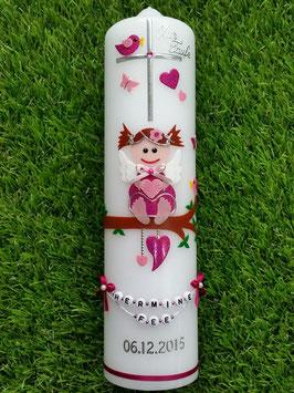 Taufkerze SK155 SCHUTZENGEL Pink-Rosa Holoflitter / Schmales Satinband / Buchstabenkette