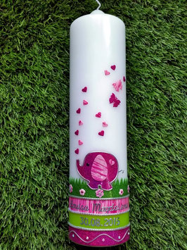Taufkerze Elefant TK210-3 Pink Holoflitter-Rosa >> Ohne Kreuz!