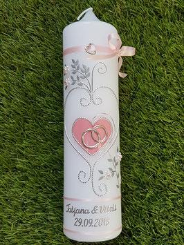 Hochzeitskerze klassisch HK208 Rosa Uni/Silber