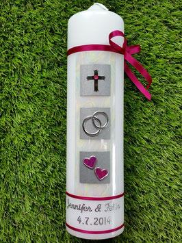 Sehr edle Hochzeitskerze HK210 Perlmutt-Pink-Silber mit Kreuz Bänder Pink
