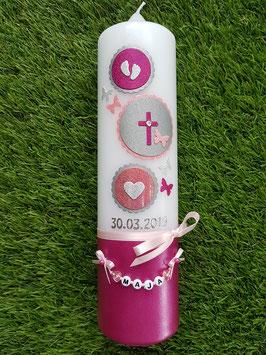 Taufkerze Symbole TK306-U in Pink-Rosa-Altrosa-Silber Holoflitter / Füsschen-Kreuz-Herz / Buchstabenkette