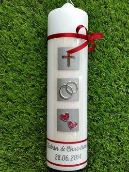 Sehr edle Hochzeitskerze HK210 Perlmutt-Creme-Bordeaux Silber mit Kreuz