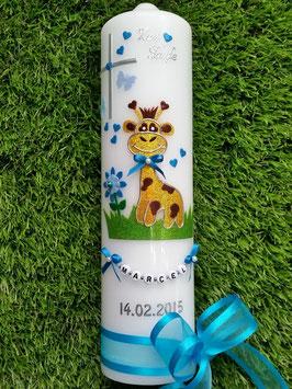 "Taufkerze TK278 ""Giraffe"" in Gelb-Braun-Türkis-Hellblau Flitter"