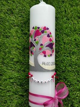 Taufkerze  Lebensbaum mit Herzchen & Buchstabenkette Pink TK401