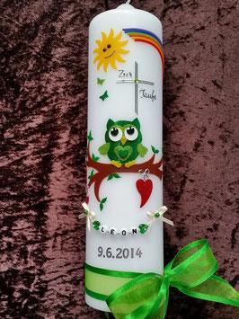 Taufkerze EULE mit Regenbogen & Kette TK181 Grün-Apfelgrün Flitter