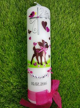 Taufkerze Bambi TK188 Braun-Pink Holoflitter mit Buchstabenkette©