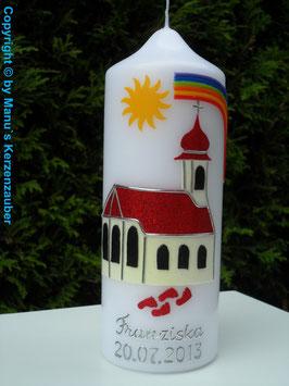 Paten oder Tischkerze TK210 Kirche mit Zwiebelturm