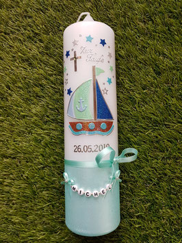 Taufkerze Boot TK314-U mit Sterne in Zartmint-Hellblau-Dunkelblau-Pastellblau Holoflitter
