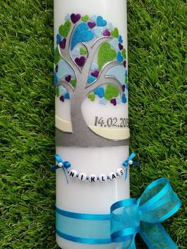 Taufkerzen Junge  Lebensbaum mit Herzchen & Buchstabenkette Türkis TK401