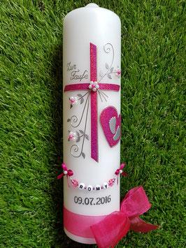 Taufkerze TK134 Herz in Pink Holoflitter