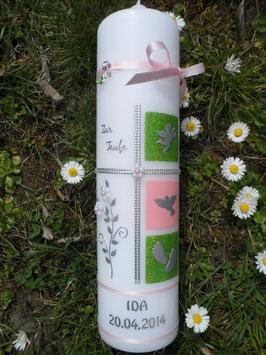 Taufkerze TK108 Klassisch Rosa Uni-Apfelgrün Holoflitter mit Silberschrift