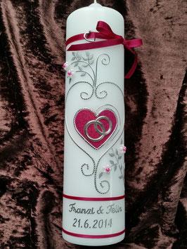 Hochzeitskerze klassisch HK208 Pink Holoflitter