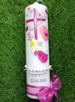 Taufkerze SK153 Schutzengel Kreuz Pink-Rosa Holoflitter / Herz mit Krone / Buchstabenkette