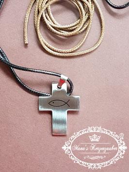 Halskette Kreuz & Fisch mit Wechselbänder