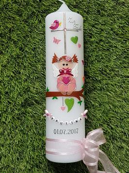 Taufkerze SK155 SCHUTZENGEL Rosa-Pink-Apfelgrün Holoflitter Buchstabenkette/Satin-Organzaschleife