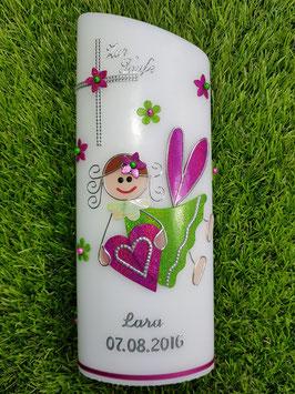 Taufkerze SK116 Schutzengel Apfelgrün-Pink Holoflitter / Silberschrift & Blüten
