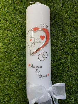 Hochzeitskerze HK223 Herzschatten Koralle & Weiß Uni