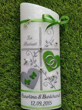 Hochzeitskerze HKS109 Apfelgrün Holoflitter mit Silber