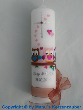 Hochzeitskerze Verliebte Eulen HK216 Braun-Rosa Flitter & Kreuz!
