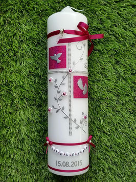 Taufkerze TK110 Klassisch Pink Holoflitter & Buchstabenkette
